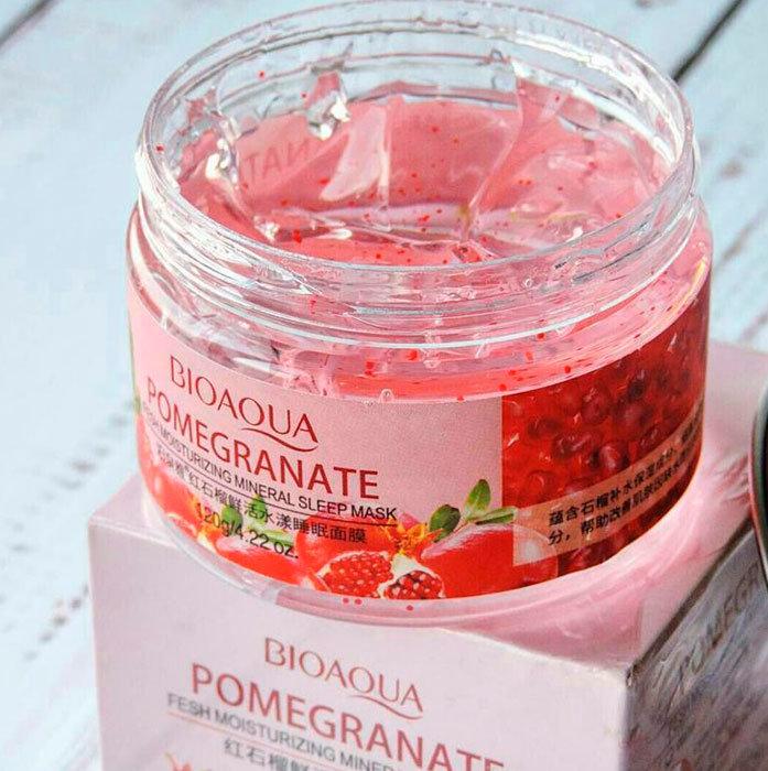 ماسک مرطوب کننده خواب عصاره انار برند بیوآکواpomegranate fresh moisturizing mineral sleeping mask