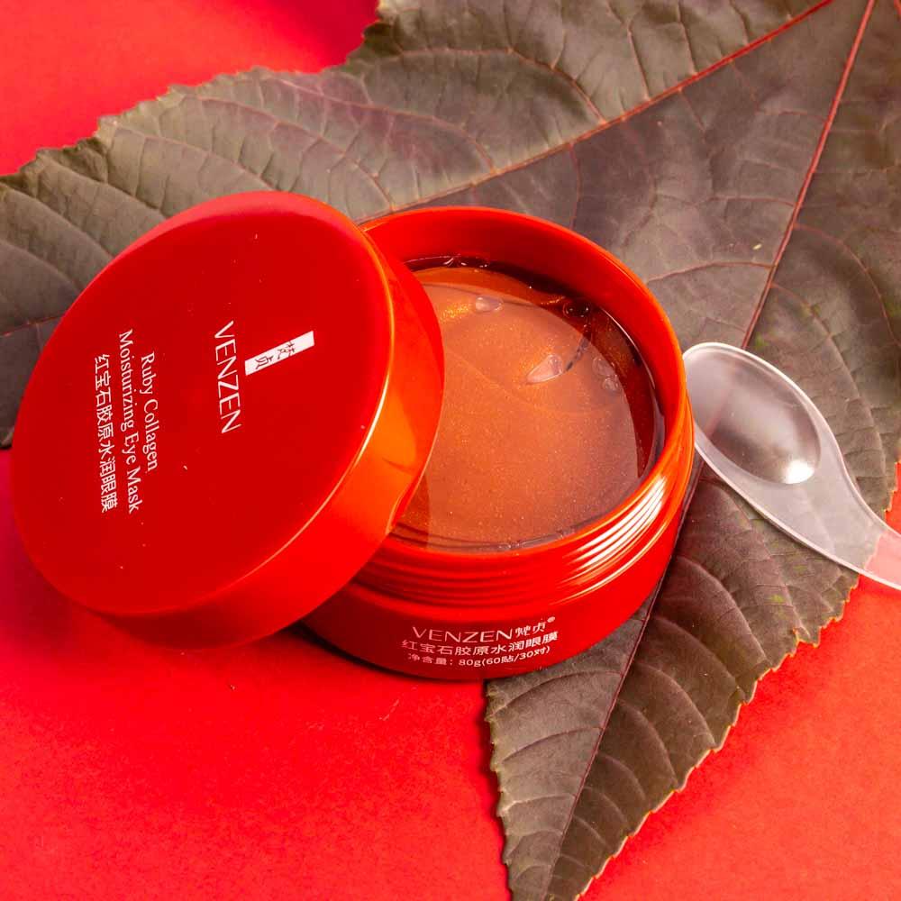 ماسک مرطوب کننده زیر چشم یاقوت سرخ برند ونزنvenzen ruby collagen moisturizing eye mask