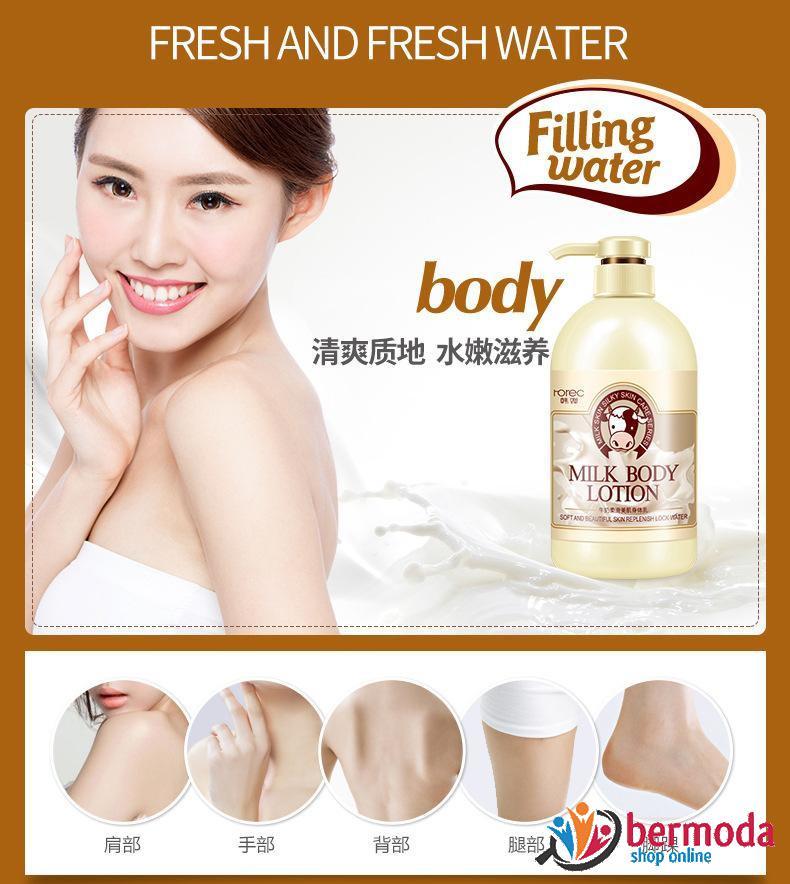 لوسیون بدن شیر مغذی وسفید کننده پوست رورک Rorec Milk body lotion